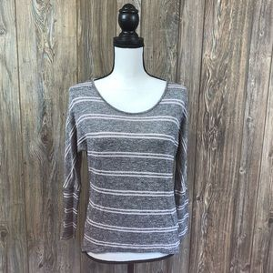 Self Esteem Gray with pink stripes long sleeve top
